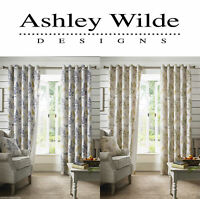 Ashley Wilde Sycamore Leaves Lined Ready Made Eyelet Ring Top Curtains Pair