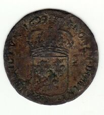 French Colonial, rare 1697 AA new billon sol of 15 deniers, Metz mint