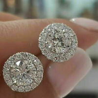 2.00 CT Round Cut D/VVS1 Diamond Halo Stud Earrings 14k White Gold Over