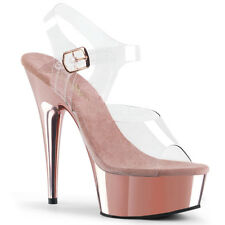 "6"" Rose Gold Pink Pleaser Stripper Pole Dance Class Sexy Club Heels Shoes 8 9 10"