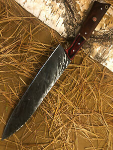 SFK CUTLERY CUSTOM HANDMADE DAMASCUS FIXED BLADE HUNTING CHEF KNIFE WALNUT WOOD