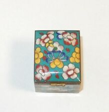 SMALL CHINESE CLOISONNE ENAMEL TURQUOISE MILLEFLEUR STAMP JAR BOX