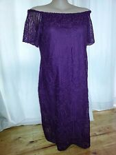 Purple hyacinth off the shoulder short sleeve floral LACE over lined dress 18