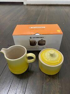 RARE Le Creuset 3 Pc. Cafe Sugar & Creamer Set Soleil Yellow Sugar Pot Milk Jug