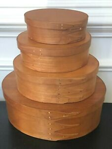 Cherry Wooden Shaker Style Oval Lidded Nesting Storage Boxes- 4 Stack