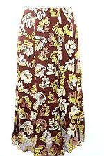 C35 Di Vita 100% Silk Hand Beaded Brown Ivory Beautiful Skirt Medium 6 $365 BNWT