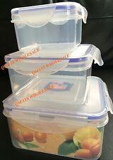 3 Pcs Square Airtight Plastic Lock Biscuit Storage Container Microwave Box Lid