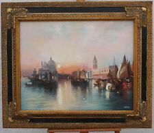 Paysage Vénitien, huile sur toile d'après Moran Thomas, encadrée.Venise. Vénise.