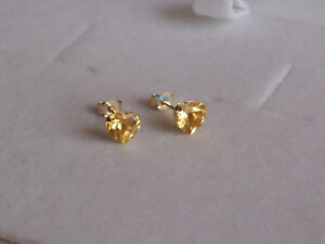 New Ladies 9ct 9Carat Yellow Gold Heart Citrine Studs Earrings 5mm Hallmarked