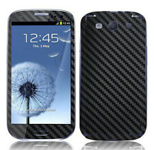 2 X Black Carbon Fibre Skin Sticker Full Body Wrap for Samsung Galaxy S3 i9300