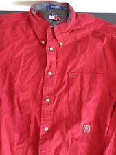 TOMMY HILFIGER Mens VINTAGE Button Front Shirt Size XL Red FREE SHIPPING
