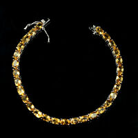 Yellow Citrine 6x4 mm Oval Natural Gemstone 925 Sterling Silver Tennis Bracelet