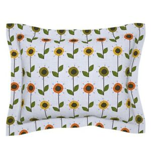 Floral Mod Orange Grey Olive Avocado Pillow Sham by Roostery