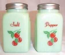 "Lg. Jadite Cherry Salt & Pepper Shakers 3.75""~Use or display~Country/Retro Decor"