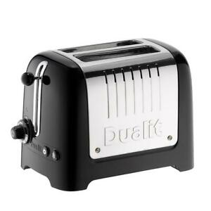 Dualit 2 Slice Lite Toaster With Bagel And Defrost Button Stainless Steel Black