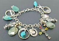 """Vintage Sterling Silver 925 Loaded Charm Bracelet 7"""""""