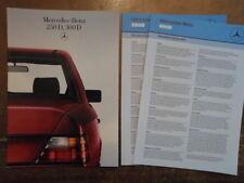 MERCEDES BENZ 250D 300D SALOONS 1985 1986 UK Mkt Sales Brochure + Specs - W124