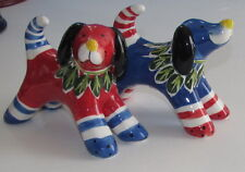 Red & Blue Dog Ceramic Salt & Pepper Shakers Blue Sky Clayworks Heather Goldminc