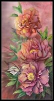 Peonies and Butterfly 2 - DIY Chart Counted Cross Stitch Pattern Needlework
