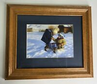 Vintage Framed Print Cold Hands by Robert Duncan - Children Sled Riding Snow Day