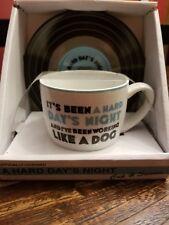 """New The Beatles Cup And Saucer Set  Lyrics """" A Hard Days Night"""""""