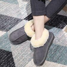Ladies Winter Natural Sheepskin Warm Fit Slippers  Women Fur Shoes Plus Size NEW