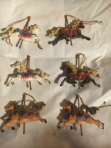 Vintage 1992 Lustre Fame Ltd Set 6 HTF Christmas Ornaments Horse Carousel Merry