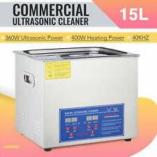 15L Ultrasonic Cleaner Cleaning Equipment Liter Industry Heated W/ Timer Digital