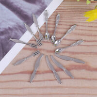 12x Dollhouse mini cutlery knife miniatures tableware fork spoon children toy FT