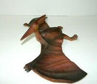 "Vintage 80's Large Rubber Pterodactyl Dinosaurs toy 14"" Wingspan Brown"