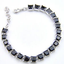 "925 Sterling Silver Plated Square Cut  Black Onyx Gems Charm Link Bracelet 8"""