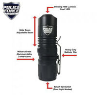 Police Force Mini Tactical L2 LED Flashlight w/ Zoom - Case Battery Home Charger