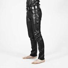 Men's Black Genuine Leather slim fit Biker trouser pants