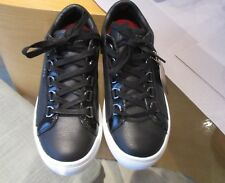 Skechers Street Leather Cupsole D Ring Eyebrow Lace Up Trainers Black/White 3