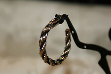VINTAGE SILVER TONE &BLACK TWISTED COIL HOOP POST EARRINGS EX QUALITY WOW!