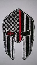 Thin red line spartan patch iron-on firefighter tactical fire man