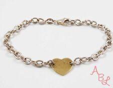 Sterling Silver Vintage 925 Heart Charmed Chain Bracelet 7'' (4.6g) - 741382