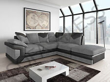 dino leather & fabric corner L-shape sofa & footstool foam seat black grey brown