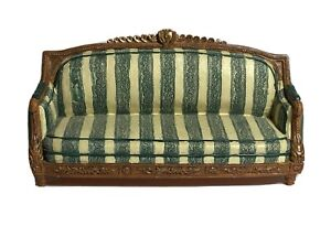 Vintage Resin Green Striped Couch Large Dollhouse Miniature Furniture