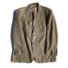 Ralph Lauren CHAPS Mens 100% Silk Houndstooth Brown Blazer Jacket Sport Coat 42R