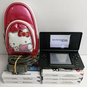 Nintendo DS Lite Handheld-Spielkonsole - Schwarz + 5 Spiele & Hello Kitty Tasche