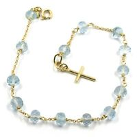 18K YELLOW GOLD ROSARY BRACELET, OVAL FACETED AQUAMARINE, MINI TUBE CROSS