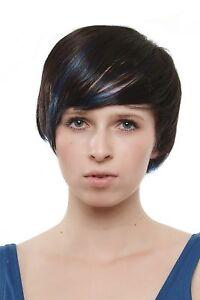 Flipppige Perruque Femme Carré Brun Foncé Bleu Mèches SA019-4BB061 Punk Gothique