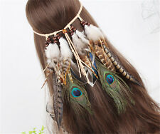 Fancy Indian Peacock eye Feather Headband Beads Masquerade Headpiece Hair Rope