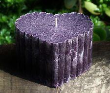 100hr OUD WOOD & BLACK VANILLA Triple Scented Huge HEART CANDLE Deep Purple Gift
