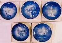5 Bing and Grondahl Copenhagen B&G Christmas Plates, 1972 1973 1974 1975 1976