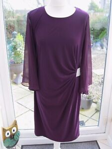 Coco Bianco Wrap Dress with Chiffon Sleeves and Diamanté' Detail Plum Large New