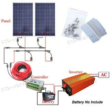 200W Complete Kit:2*100W Solar Panel+15A Controller +1KW Pure Sine Wave Inverter