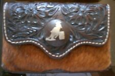 Leather Tooled 3Dtan Brown Hair Barrel Racer Concho Western Cell Phone 3x5-Sale