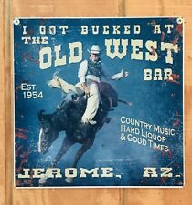 NEW Old West Saloon bucking horse tin metal sign
